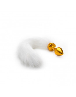 Zelta anālais stimulators ar baltu asti