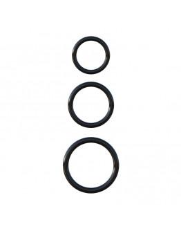 3 silikona, izturību veicinoši gredzeni, melni