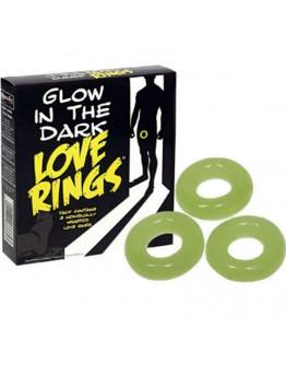 Love Rings, tumsā spīdoši erekcijas gredzeni, 3gb