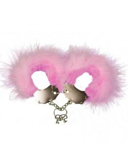 Metāla rokudzelži ar rozā spalvu apdari