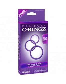 3 silikona, izturību veicinoši gredzeni, violeti