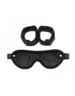Regulējama izmēra rokudzelži ar acu masku, melni