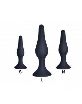 Iepakojums ar 3 silikona anālajiem stimulatoriem, melni