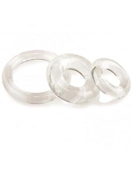 RingO x3, caurspīdīgi erekcijas gredzeni