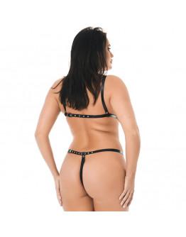 Regulējama izmēra ādas bikini ar atvērumiem