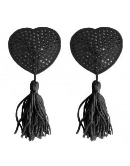 Sirds formas krūtsgalu vāciņi ar pušķīšiem, melni