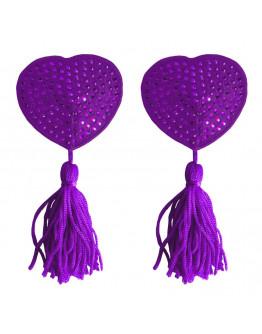 Sirds formas krūtsgalu vāciņi ar pušķīšiem, violeti